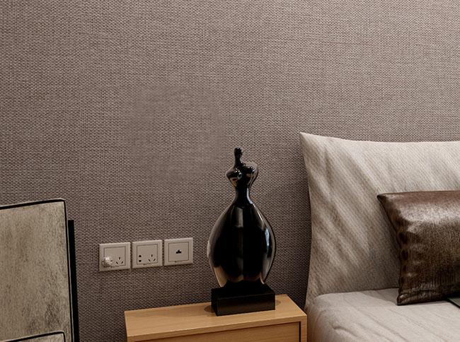 现代纯色亚麻无缝墙布 卧室客厅无纺墙布